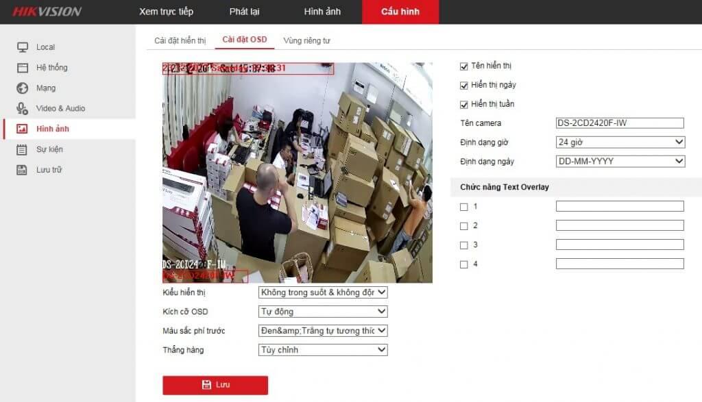 cài đặt hiển thị camera IP Hikvision