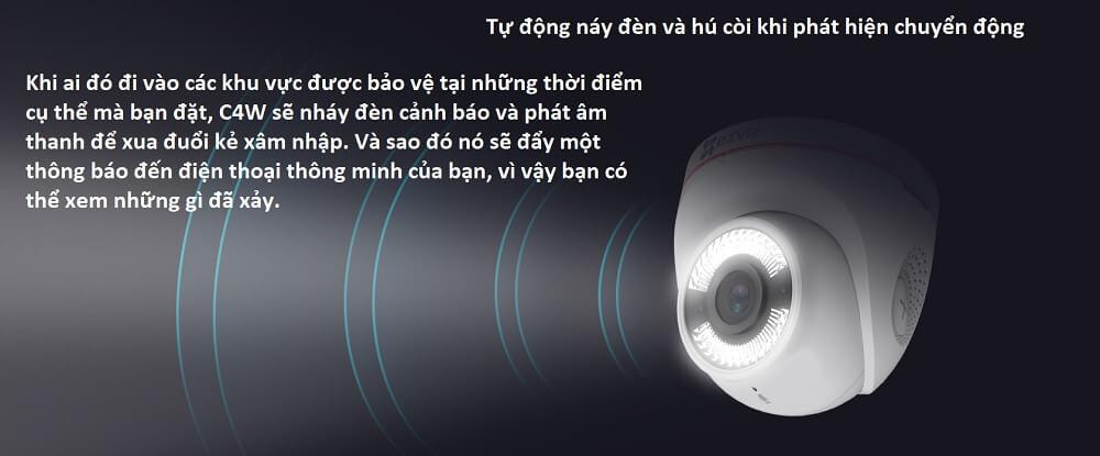 Bật đèn và hú còi khi phát hiện chuyển động